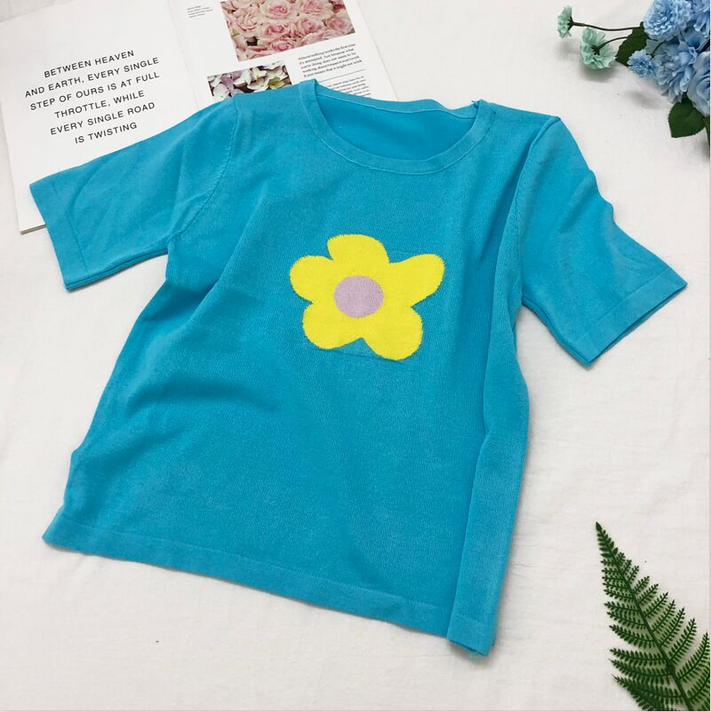 Knitted Pop Daisy Tee (7 Colours)