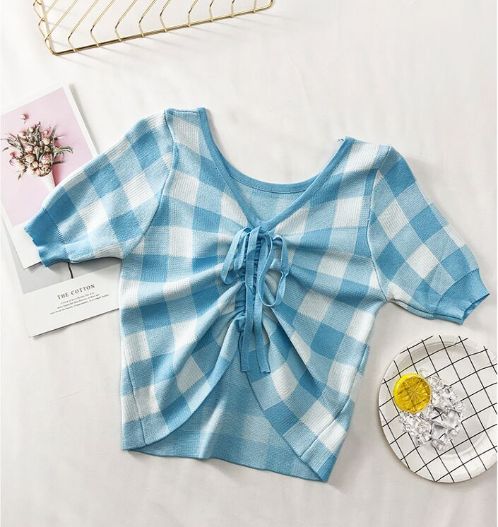 Gingham V-Neck Ribbon Top (5 Colours) - Ice Cream Cake