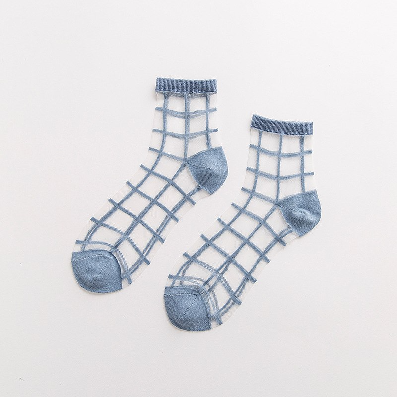 Transparent Pastel Grid Ankle Socks (5 Colours) - Ice Cream Cake