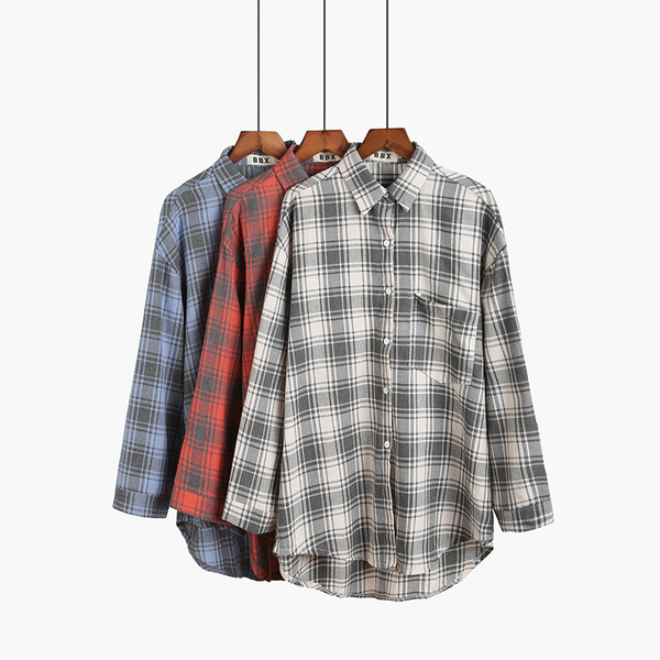 Plaid 90s Style Blouse (3 Colours) - Ice Cream Cake
