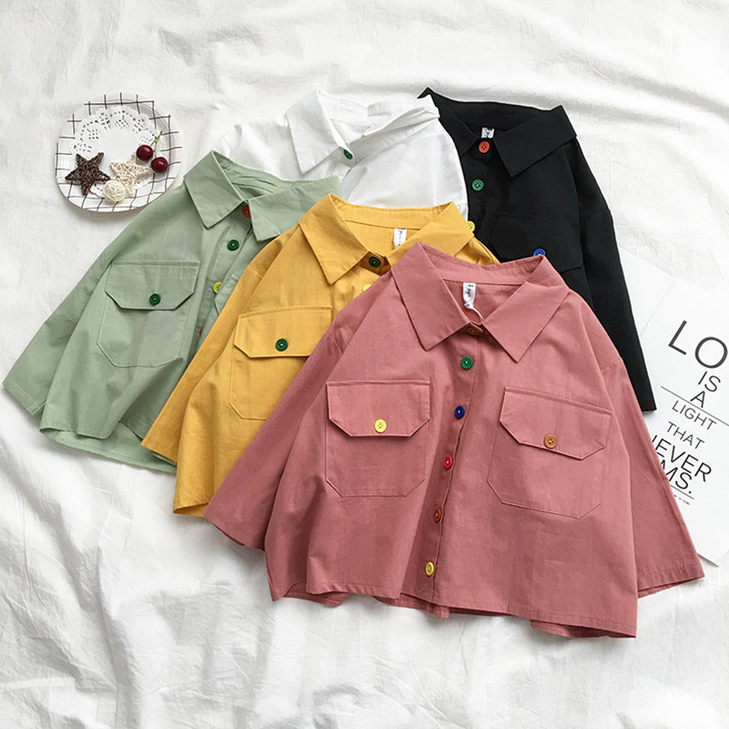Rainbow Button Scout Shirt (5 Colours) - Ice Cream Cake