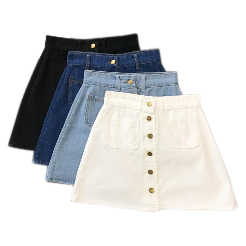Button Front Denim Mini Skirt (4 Colours) - Ice Cream Cake