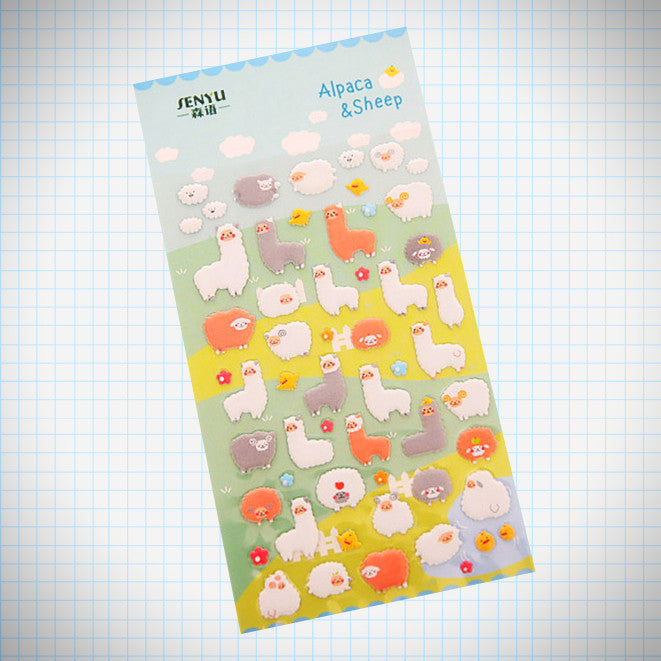 Puffy Sheep and Alpaca Stickers - Ice Cream Cake