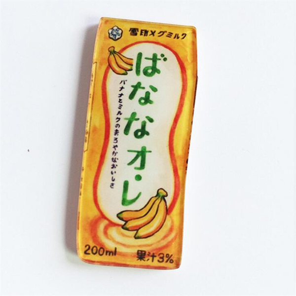 Japanese Banana Milk Acrylic Brooch - Ice Cream Cake