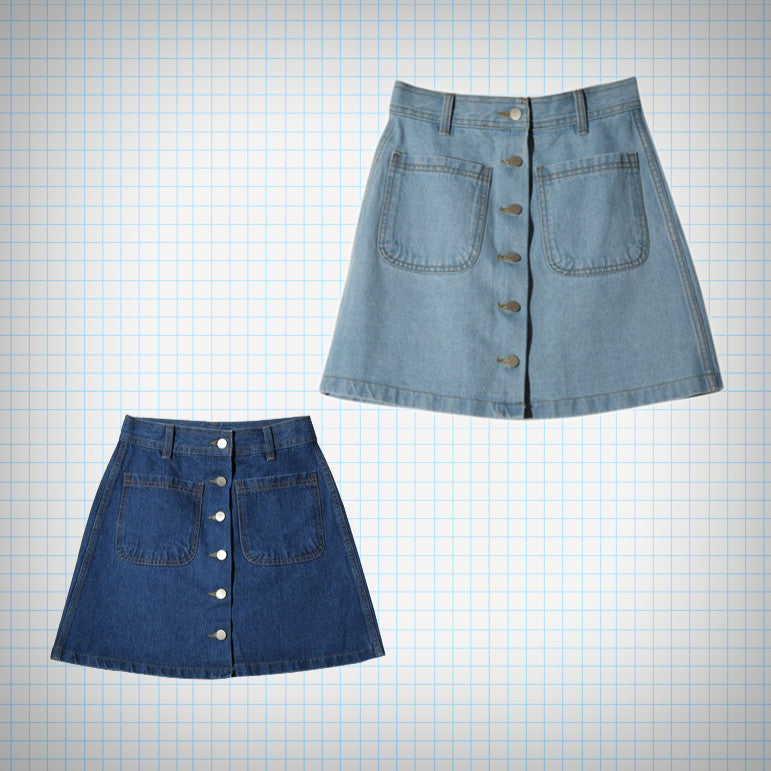 Button Front Denim Mini Skirt (2 Colours) - Ice Cream Cake