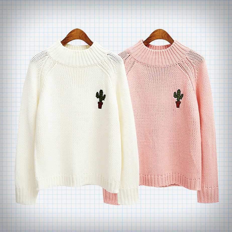 Knit Cactus Embroidery Jumper - Ice Cream Cake