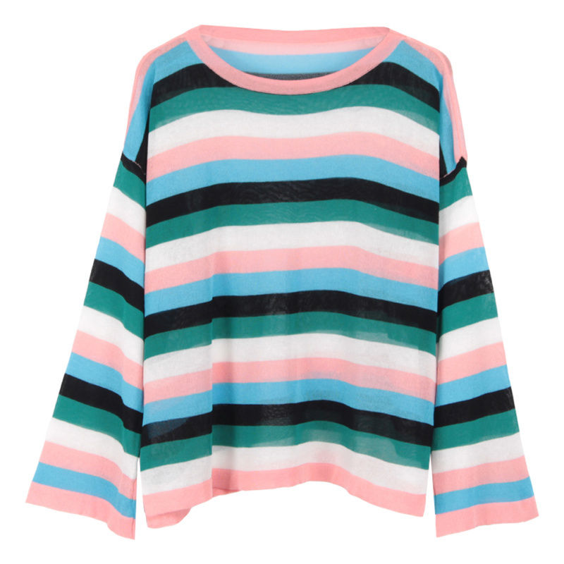 Lightweight Candy Stripe Knit Pullover (2 colours) - Ice Cream Cake