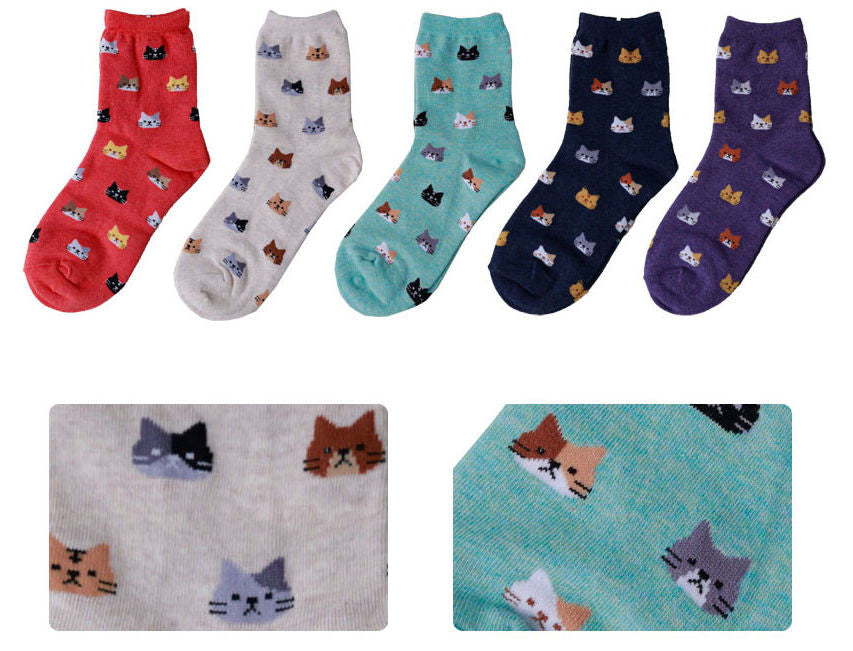 Cat Face Pattern Ankle Socks (5 colours) - Ice Cream Cake