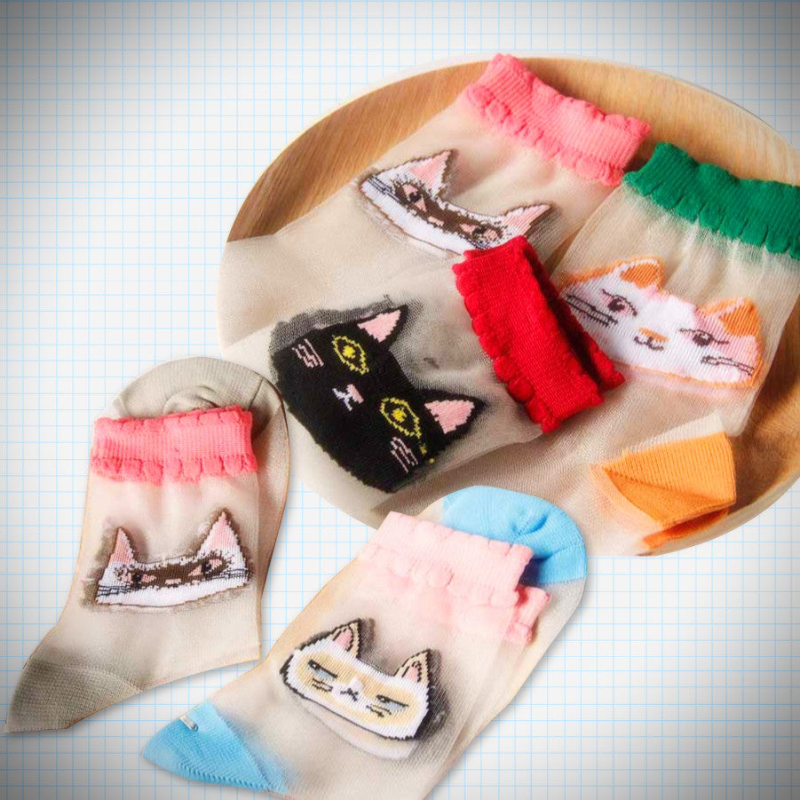 Sheer embroidered cat face socks - Ice Cream Cake