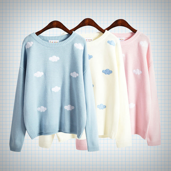 Pastel Knit Cloud Embroidery Jumper - Ice Cream Cake