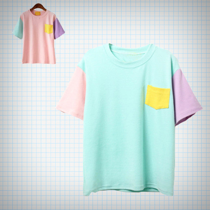 Pastel Colour Block Pocket Tee (2 Colours) - Ice Cream Cake