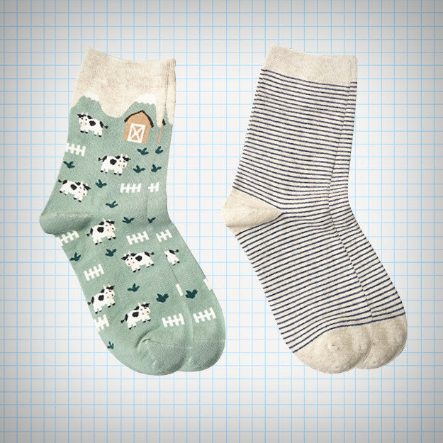Cows On A Farm Sock Set (2 pairs) - Ice Cream Cake