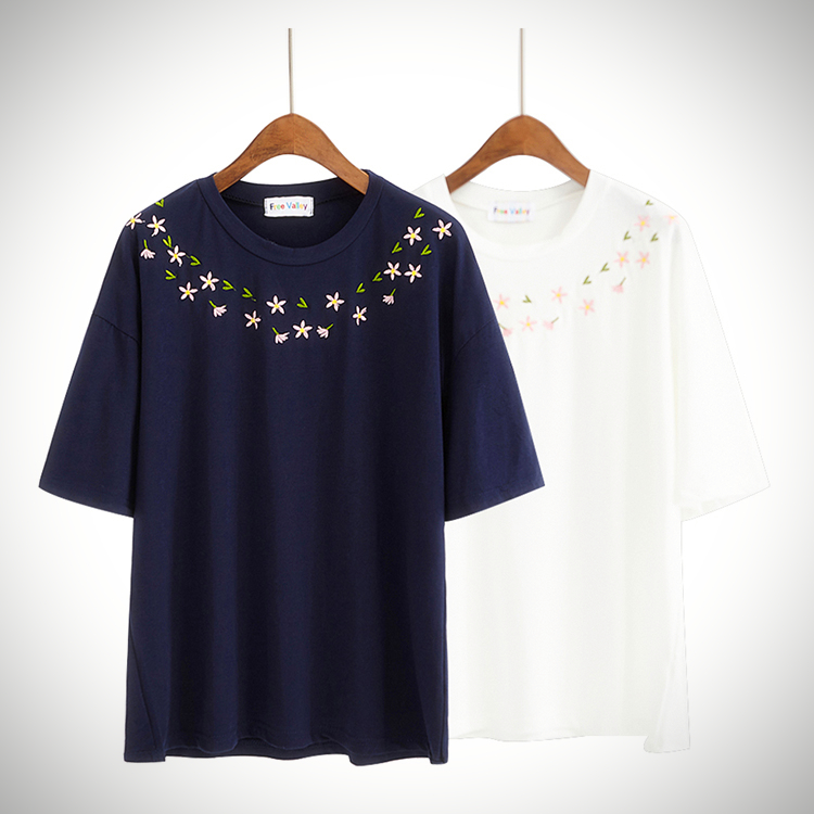 Daisy Collar Embroidery T-Shirt (2 Colours) - Ice Cream Cake