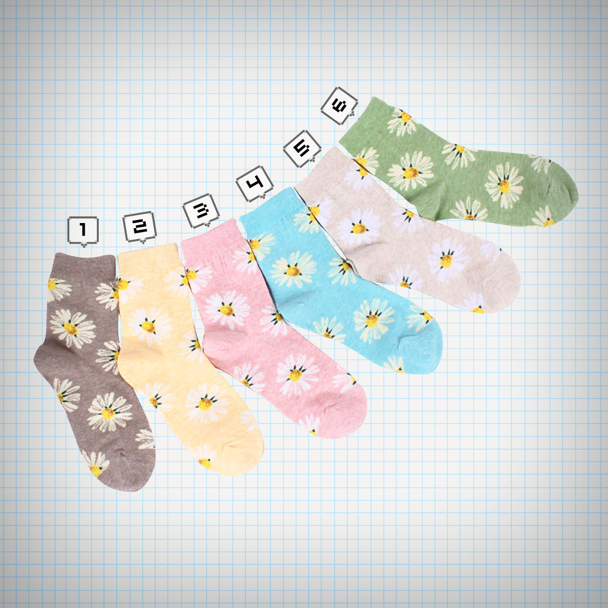 Multicolour Daisy Ankle Socks - Ice Cream Cake