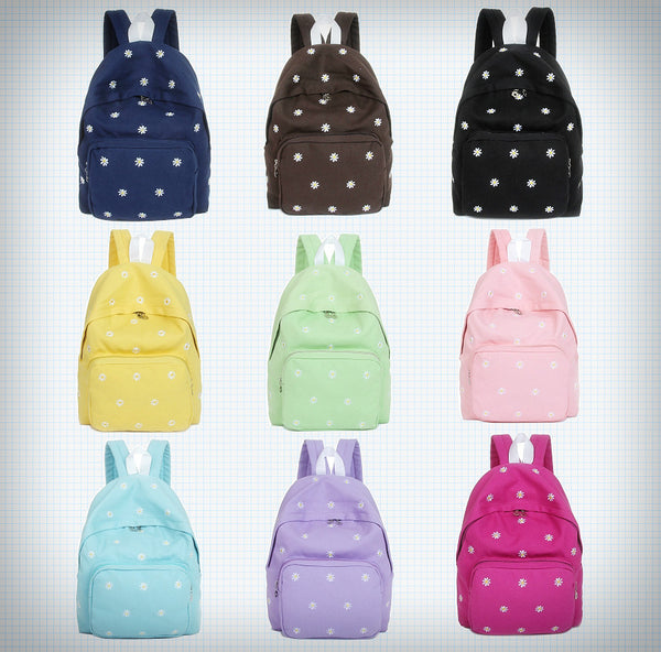 Canvas Embroidered Daisy Pattern Backpack - Ice Cream Cake