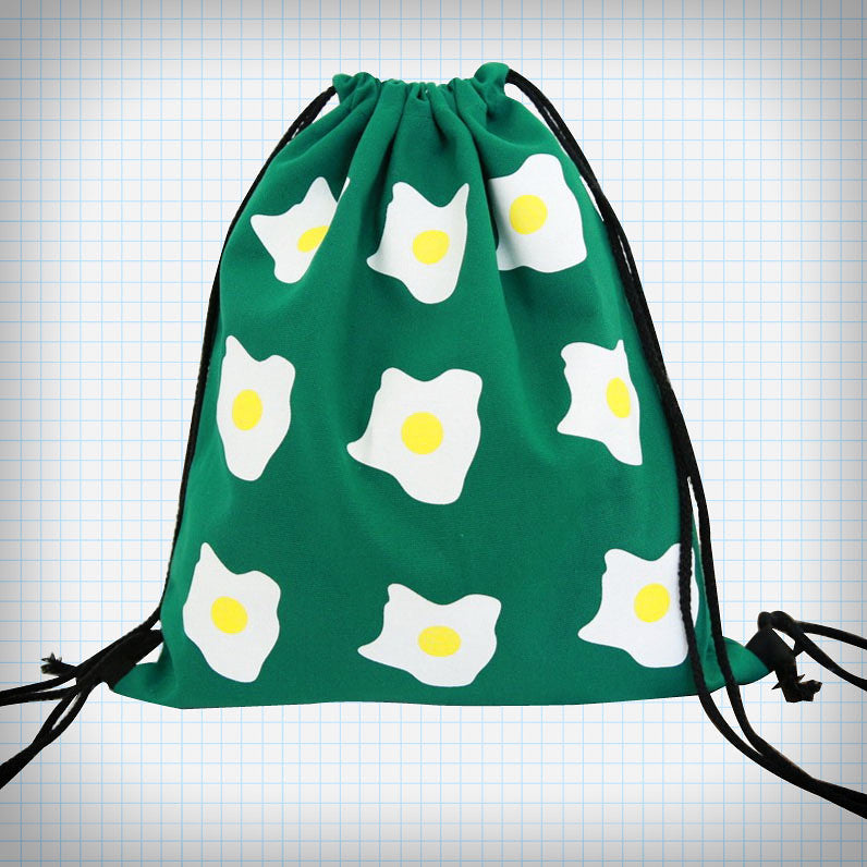 Sunny Side Up Drawstring Backpack - Ice Cream Cake