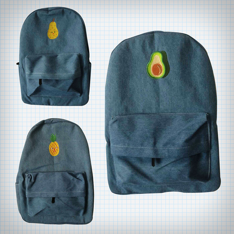 Denim Fruit Embroidery Backpack - Ice Cream Cake