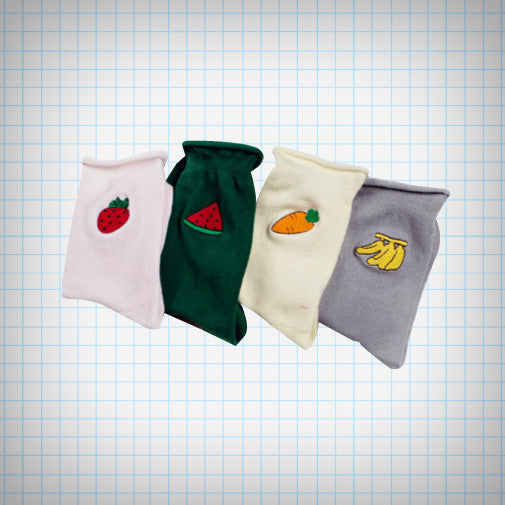 Fruit And Veg Embroidered Ankle Socks - Ice Cream Cake