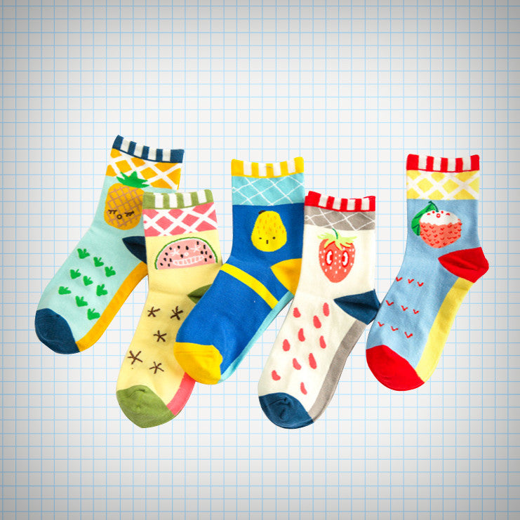 Pop Colour Fruit Ankle Socks - Ice Cream Cake