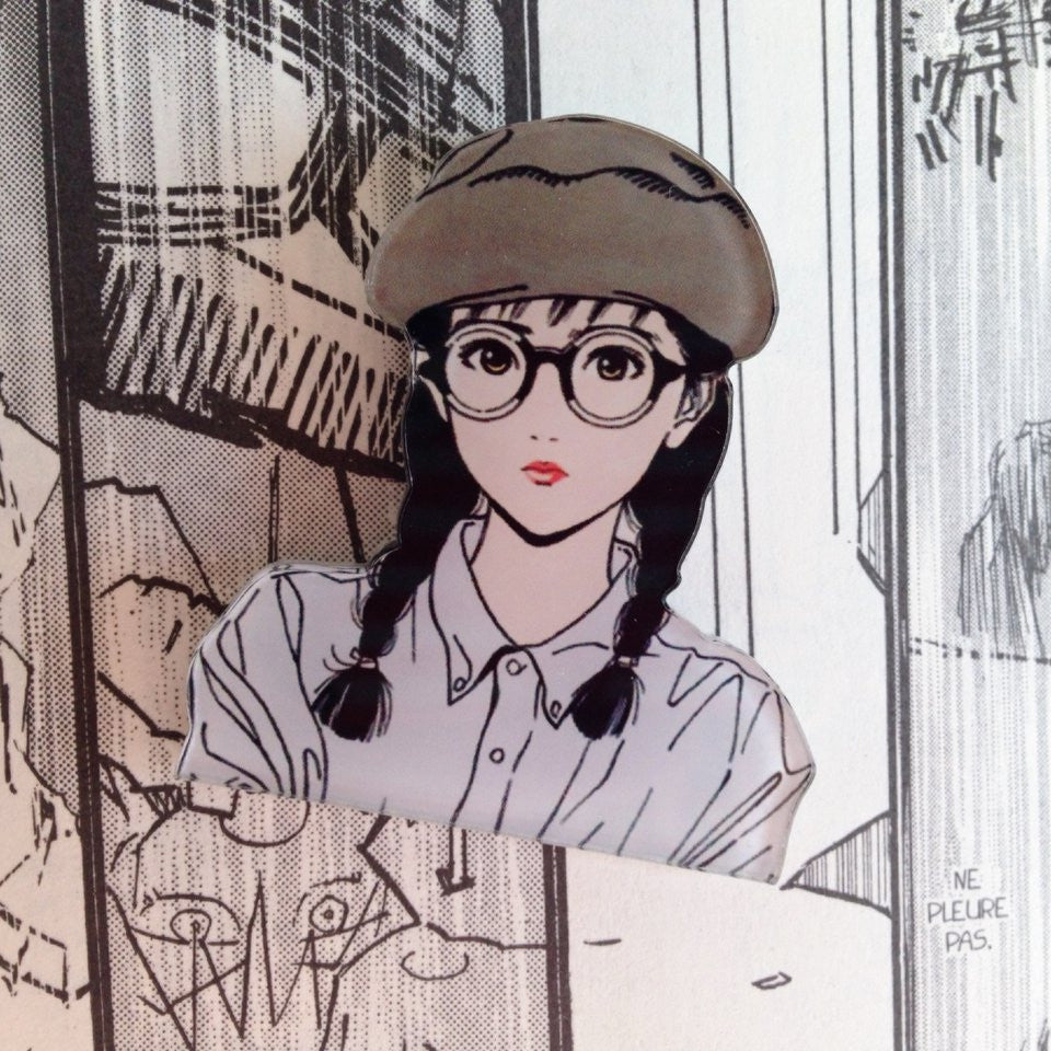 Hisashi Eguchi Vintage Manga Brooch - Glasses Girl - Ice Cream Cake