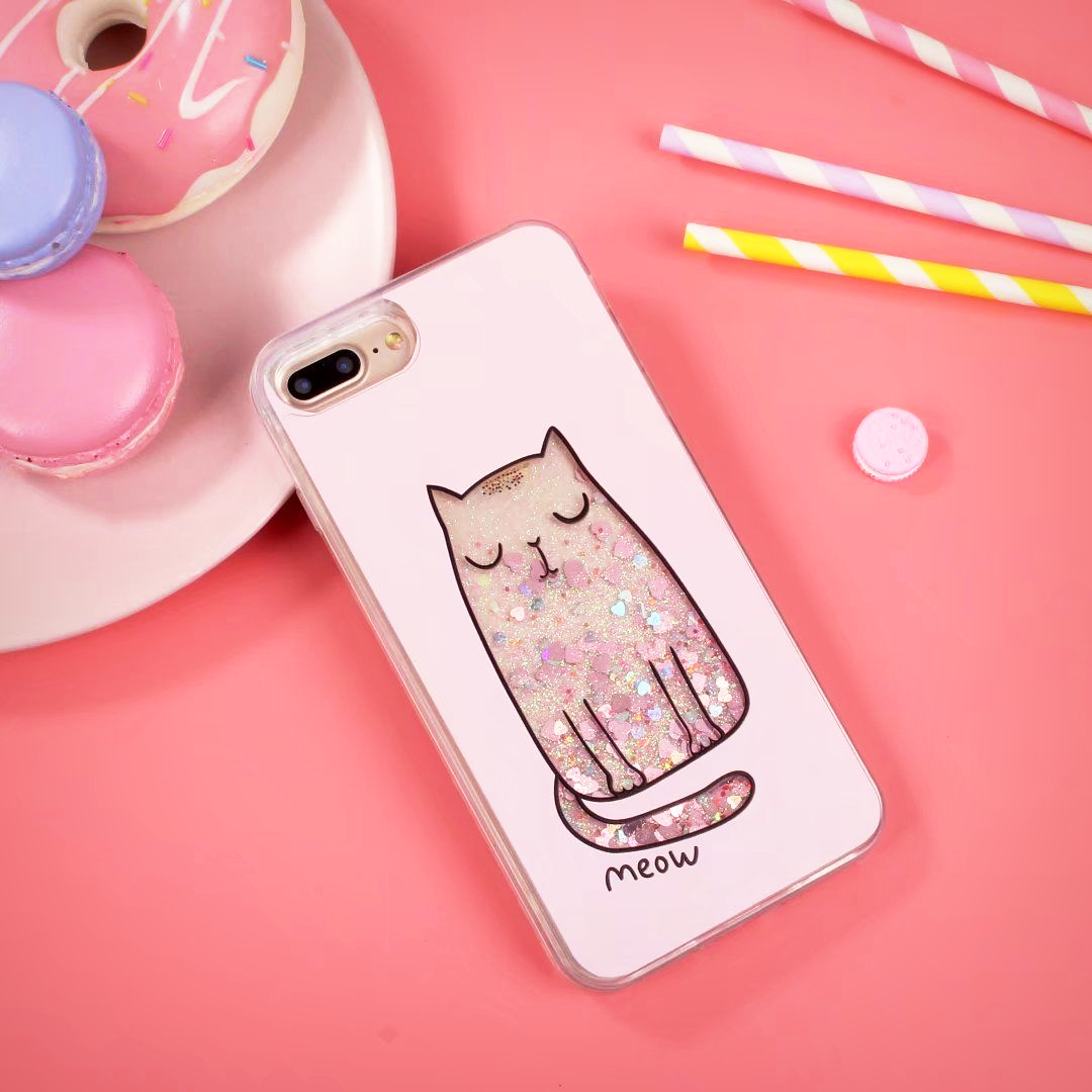 Heart Glitter Waterfall Cat iPhone Case - Ice Cream Cake