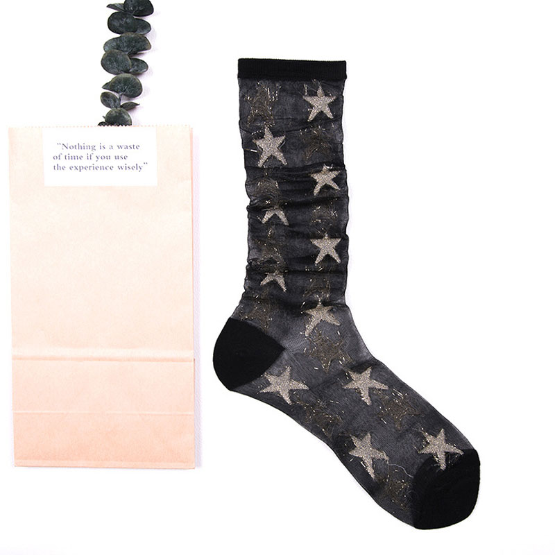 Black Transparent Glitter Star Socks - Ice Cream Cake