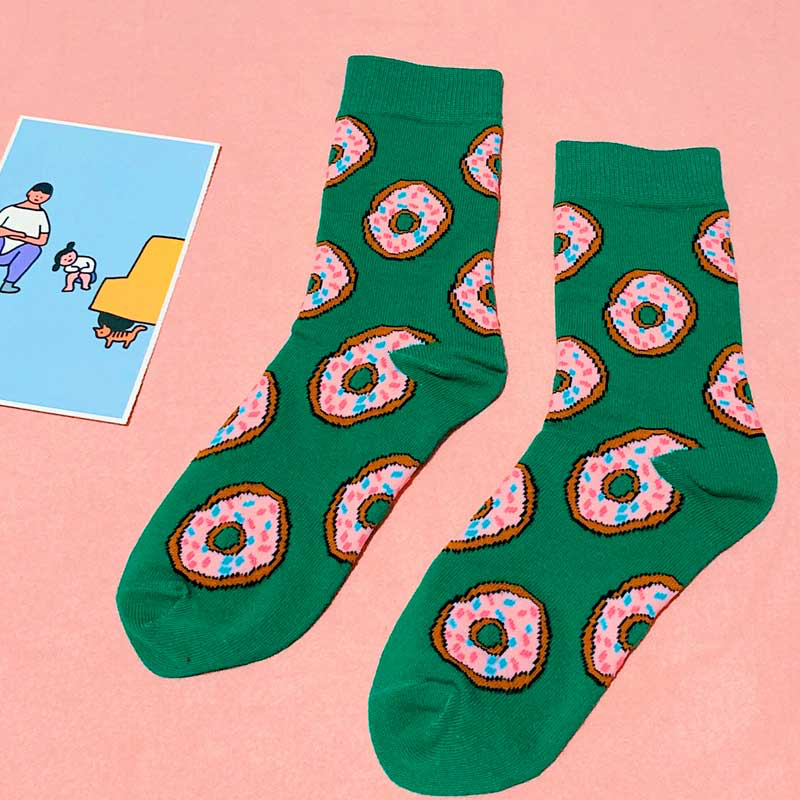 Green Donut Ankle Socks - Ice Cream Cake