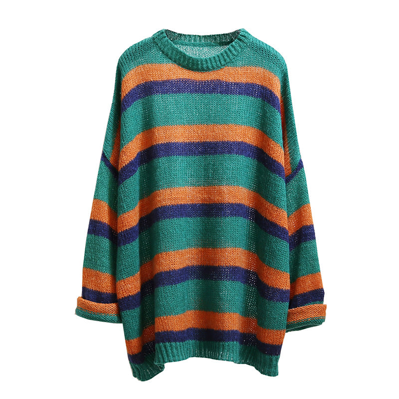 Slouchy Stripe Knit Jumper - Ice Cream Cake