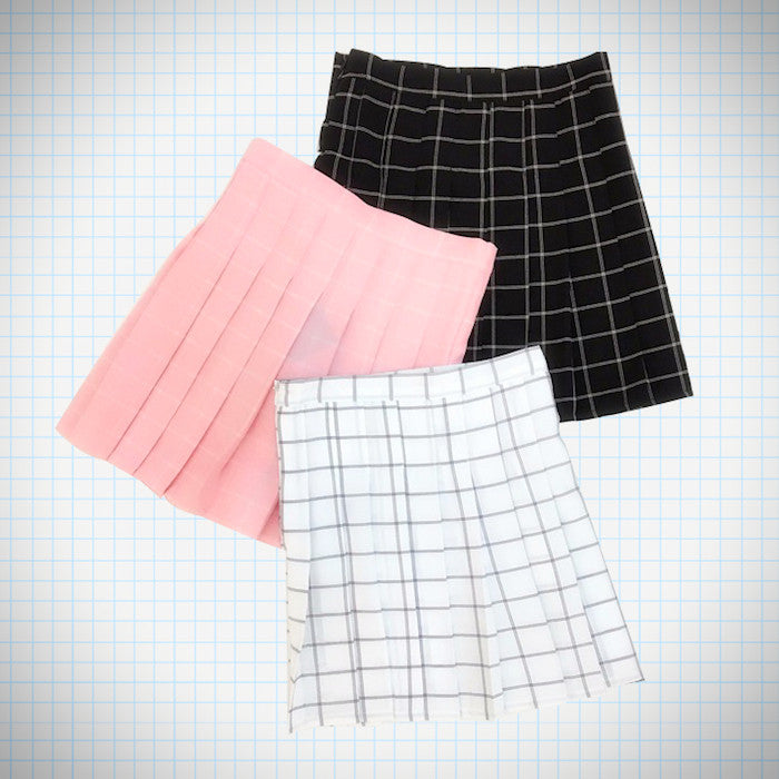 Grid Pattern Pleat Tennis Skirt (3 Colours) - Ice Cream Cake