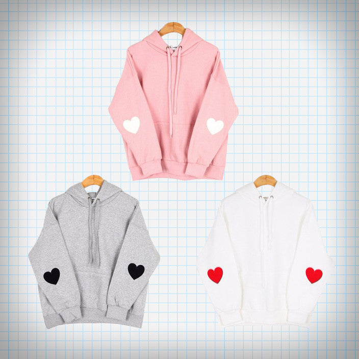 Heart Elbow Patch Hooded Pullover (3 colours) - Ice Cream Cake