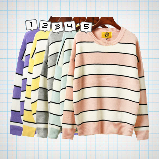 Pastel Striped Knit Jumper (5 colours) - Ice Cream Cake