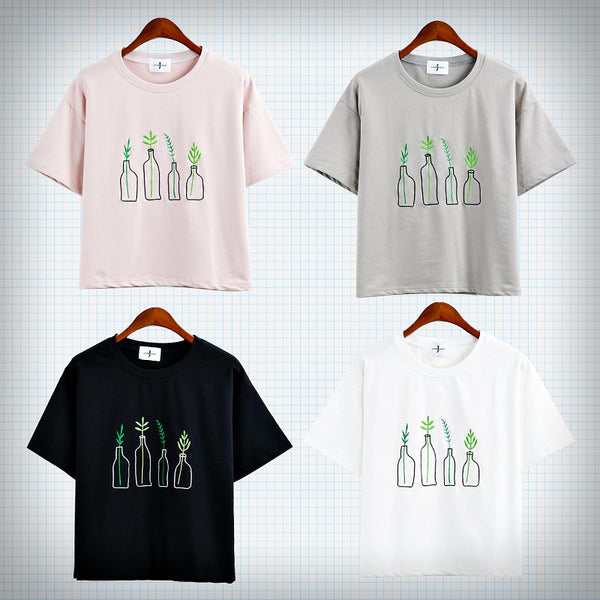 Plant In Bottle Embroidery T-Shirt - Ice Cream Cake