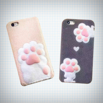 Furry Cat Paw Plush Phone Case - Ice Cream Cake