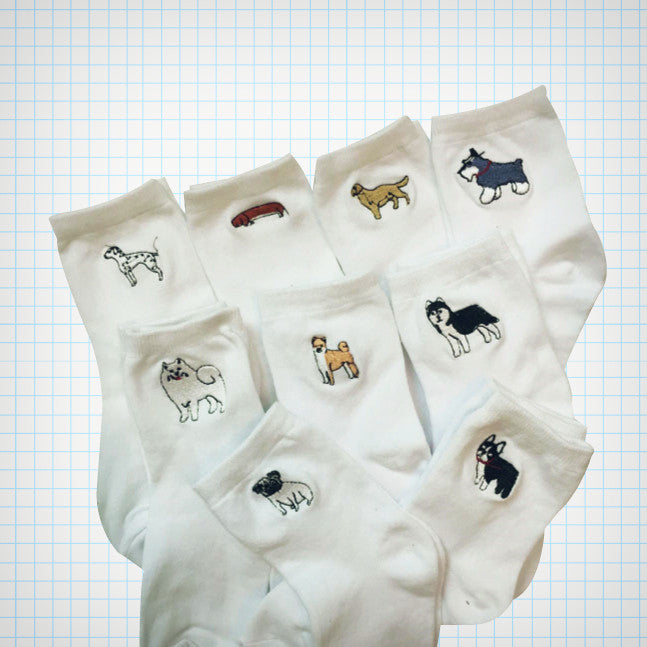 Doggy Embroidery Ankle Socks - Ice Cream Cake