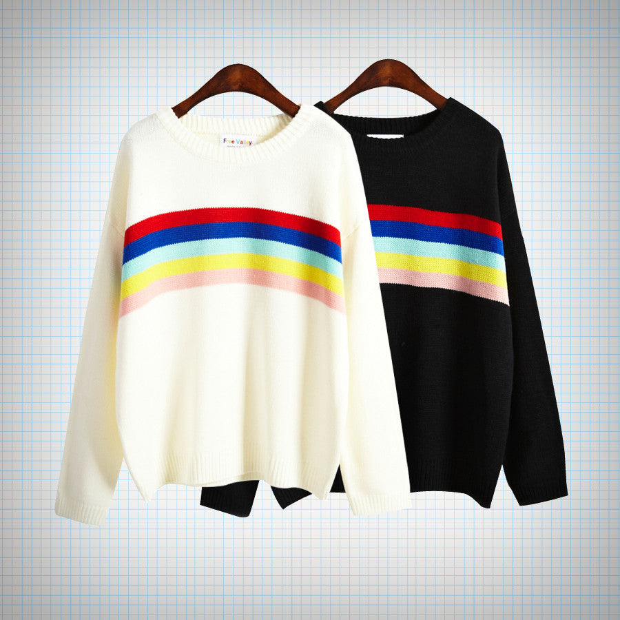 Rainbow Detail Stripe Knit Jumper (2 colours) - Ice Cream Cake