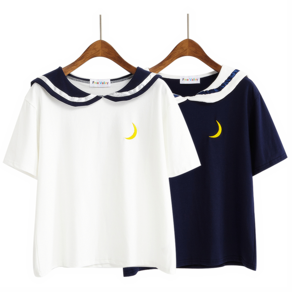 Sailor Collar Moon Embroidery T-Shirt (2 Colours) - Ice Cream Cake