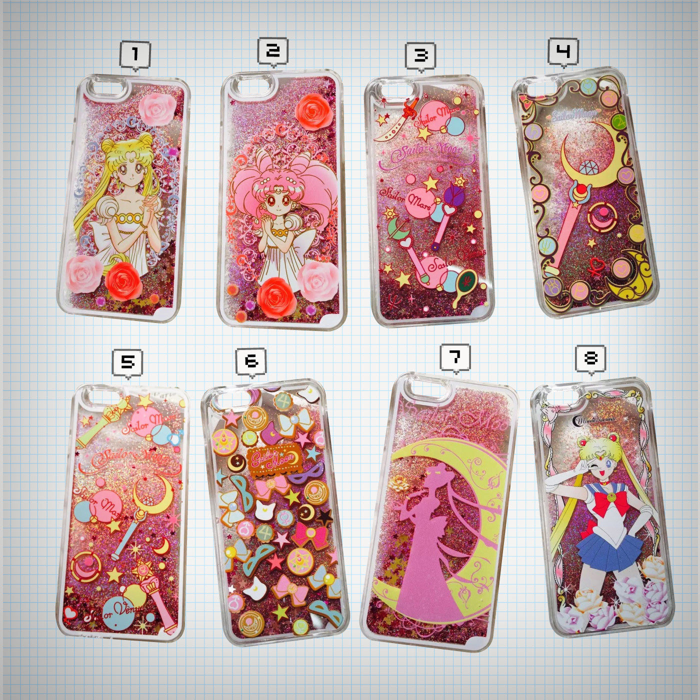 Sailor Moon Glitter Waterfall Phone Case - Ice Cream Cake