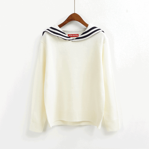 Sailor Collar Knit Jumper (2 Colours) - Ice Cream Cake
