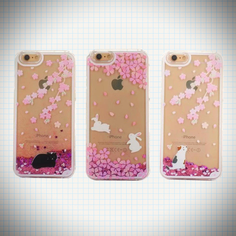 Pink Cherry Blossom Glitter Waterfall Cats & Bunnies Phone Case - Ice Cream Cake
