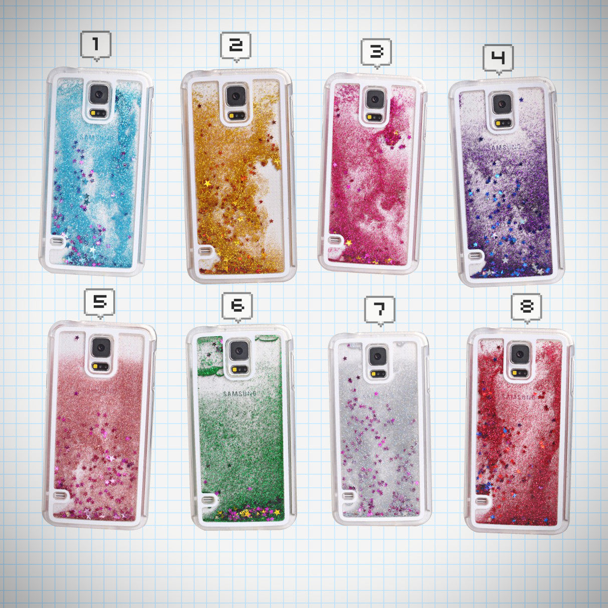 Waterfall Glitter Star Phone Case (Samsung Version) - Ice Cream Cake