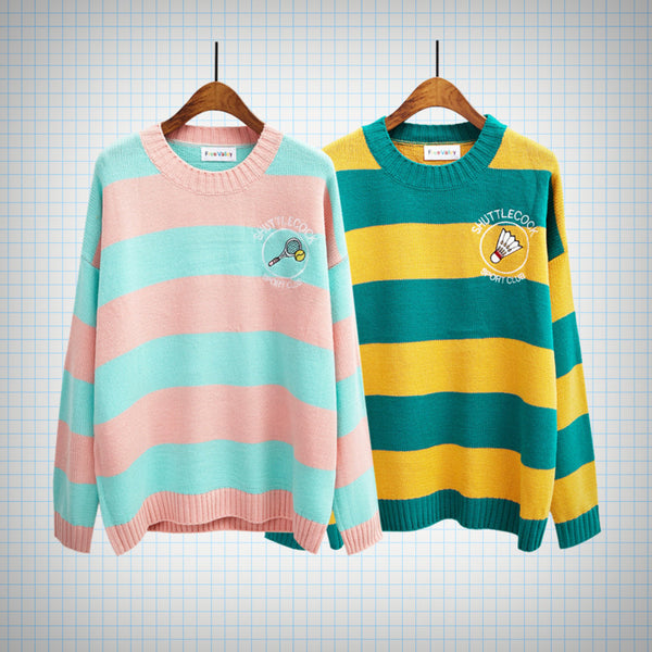 Pop Colour Sports Emblem Knit Jumper (2 colours) - Ice Cream Cake