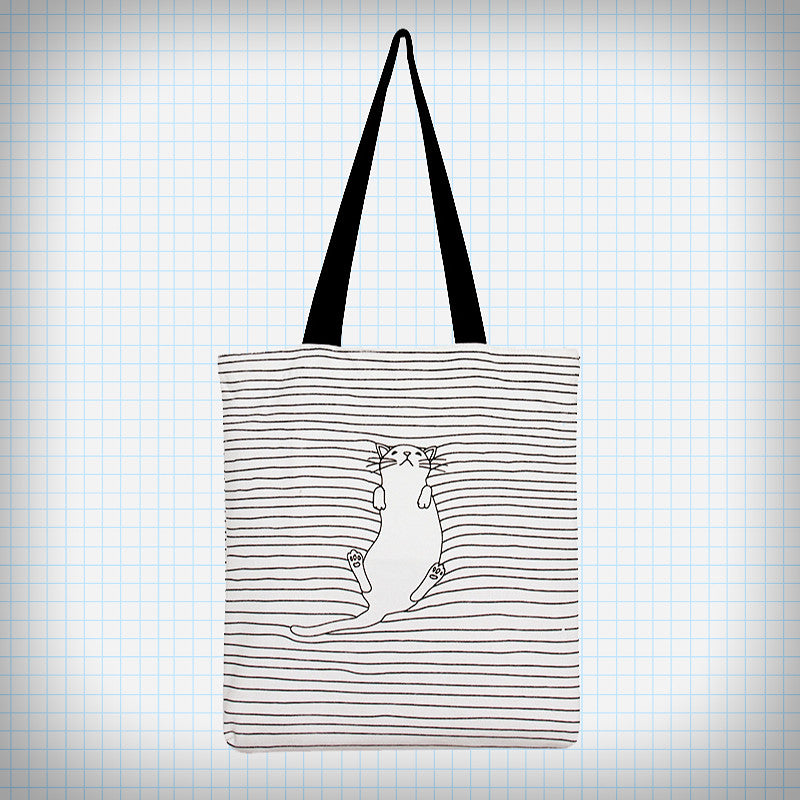 Sleepy Kitty Striped Tote Bag - Ice Cream Cake