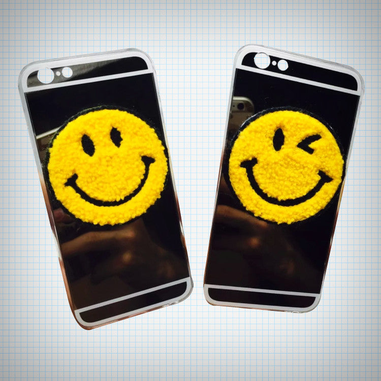 Fuzzy Smiley Face Phone Case - Ice Cream Cake
