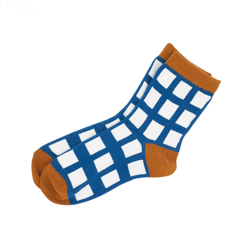 Blue and Brown Grid Socks - Ice Cream Cake