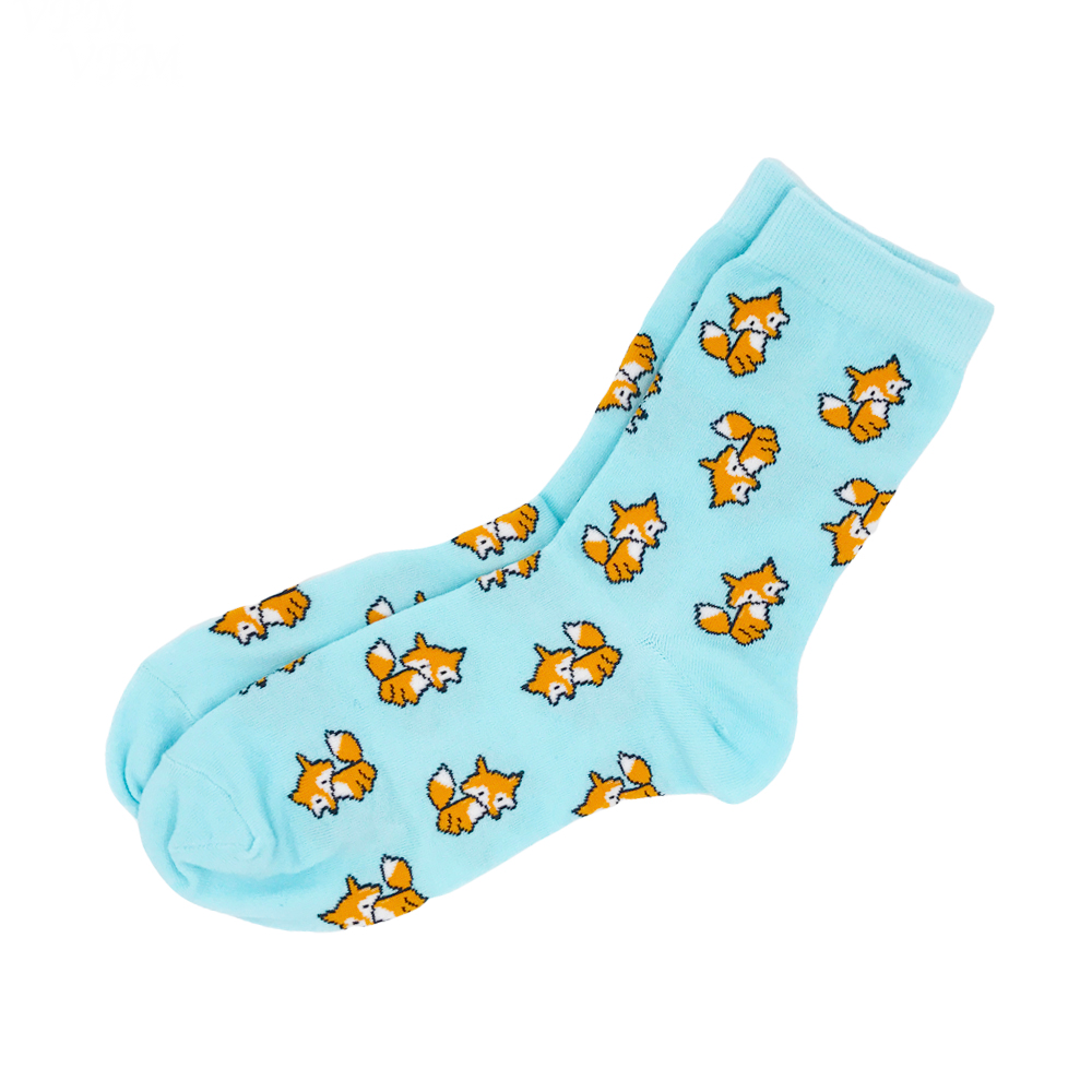 Blue Fox Print Socks - Ice Cream Cake
