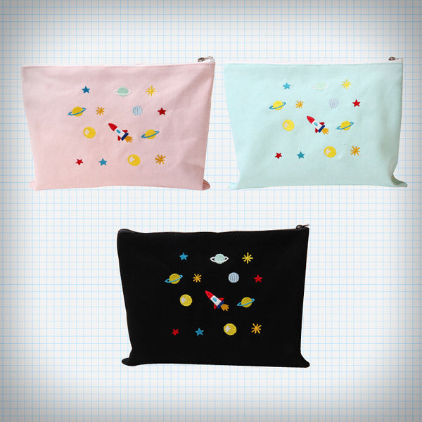 Outer Space Embroidery Pouch (3 Colours) - Ice Cream Cake