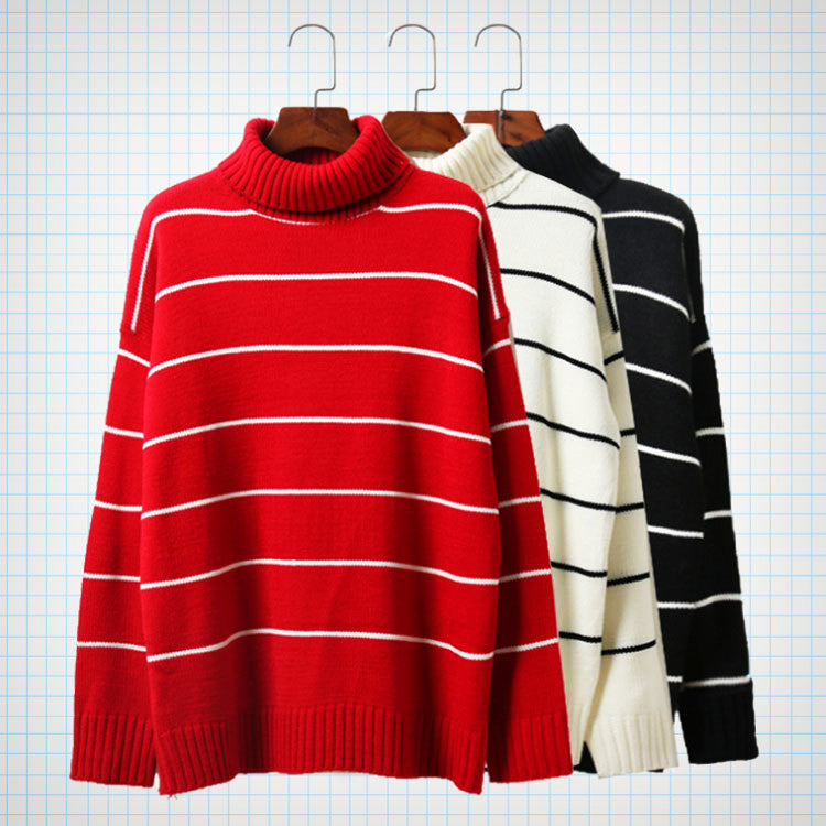 Roll Turtleneck Striped Jumper (3 colours) - Ice Cream Cake