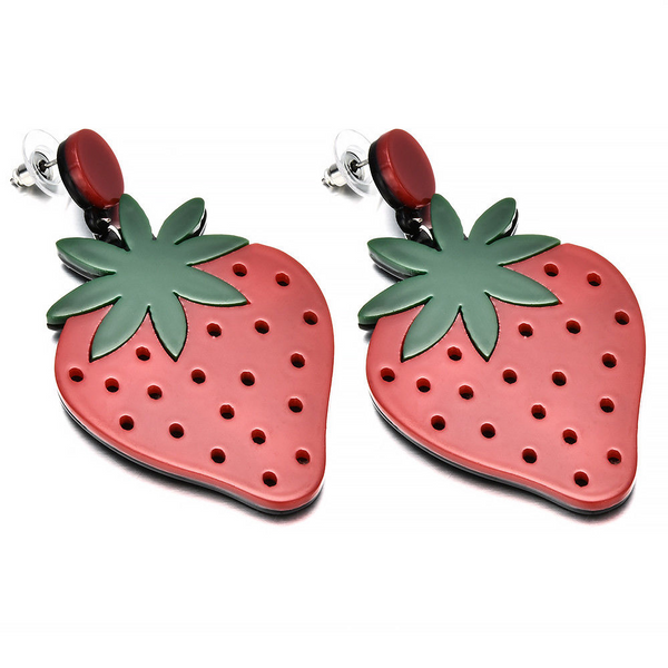 Acrylic Strawberry Earrings - Ice Cream Cake