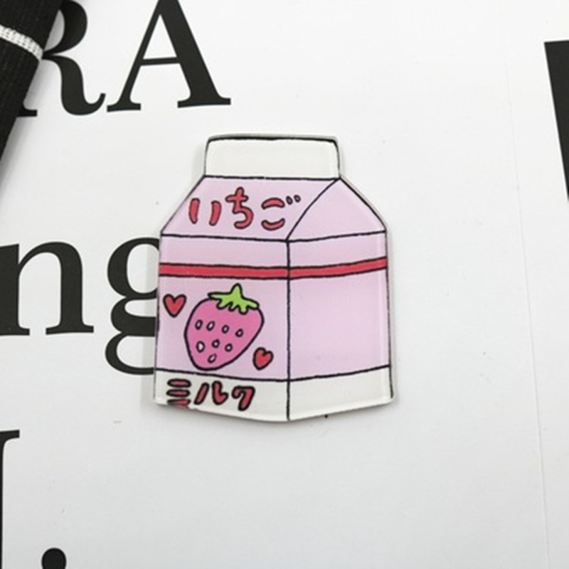 Japanese Strawberry Milk Acrylic Brooch - Ice Cream Cake