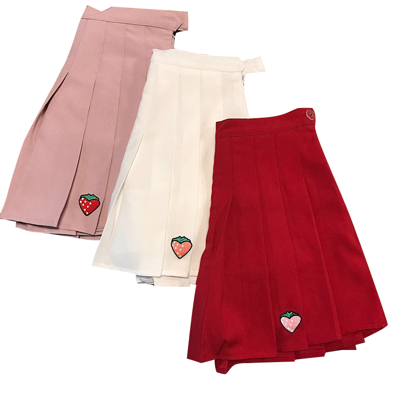 Strawberry Embroidered Pleat Skirt (3 Colours)